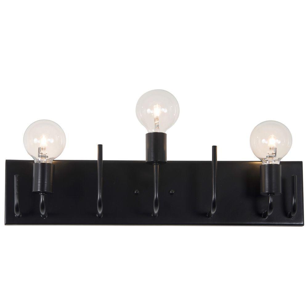 Varaluz Socket-To-Me 3-Light Black Vanity Light