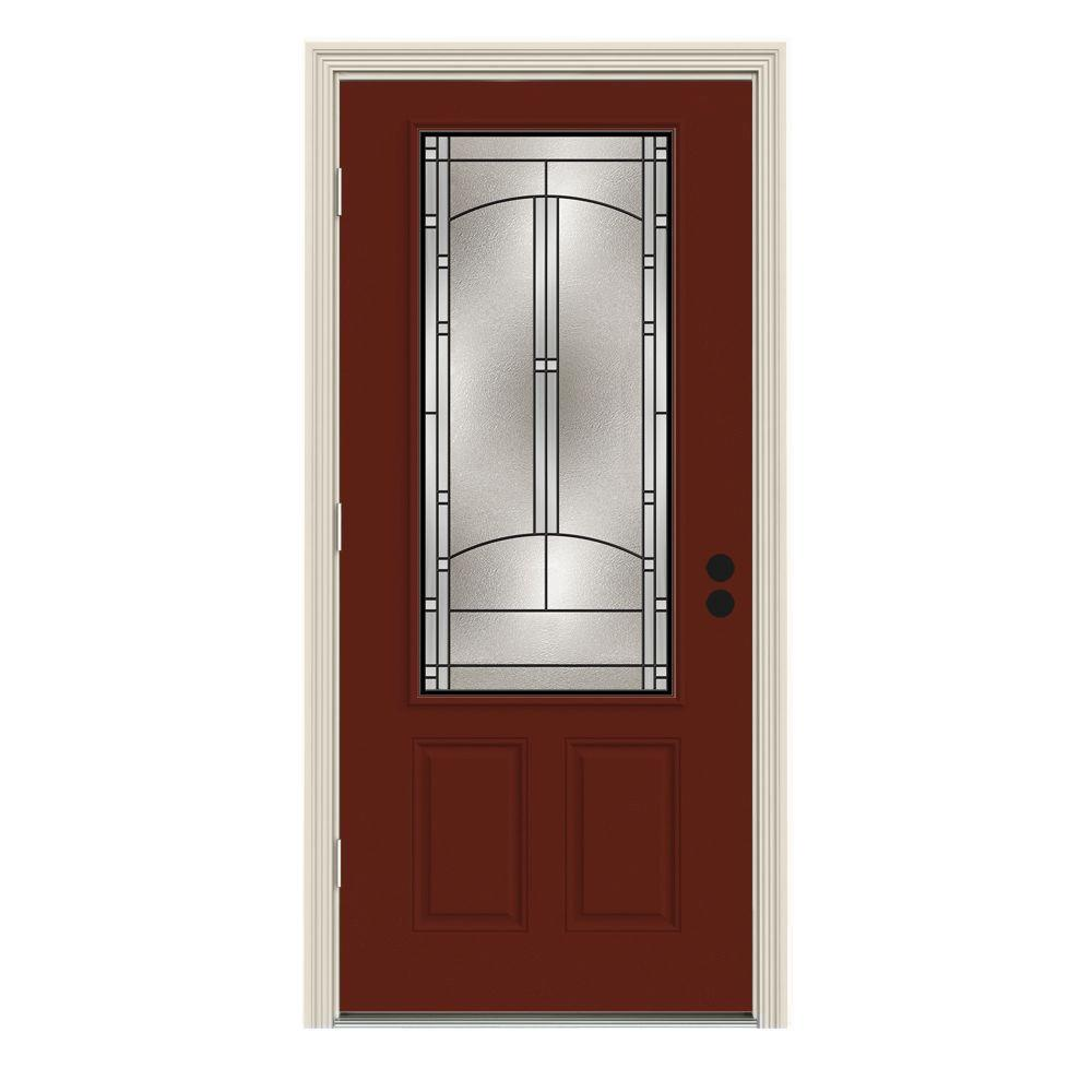 JELD-WEN 36 in. x 80 in. 3/4 Lite Idlewild Mesa Red w/ White Interior Steel Prehung Right-Hand Outswing Front Door w/Brickmould