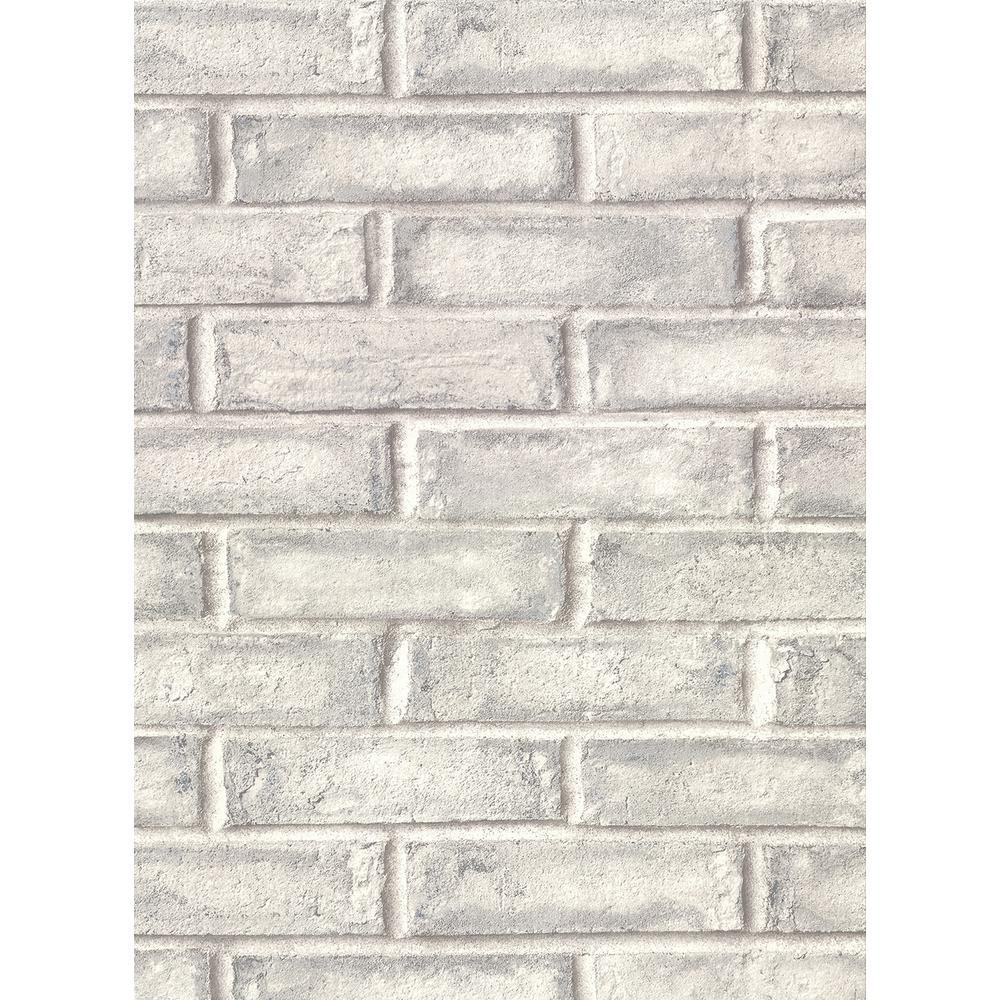 60.8 sq. ft. Appleton Grey Faux Weathered Brick Wallpaper