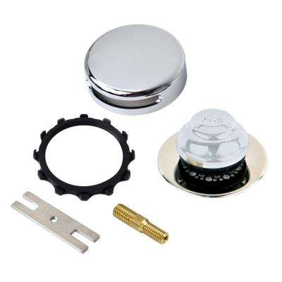 Universal NuFit Foot Actuated Bathtub Stopper with Grid Strainer and Combo Pin Adapter Kit in Chrome Plated