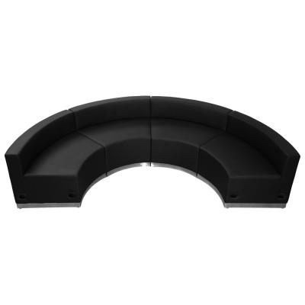 Hercules Alon Series 4-Pieces Black Leather Reception Configuration