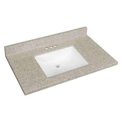 W Solid Surface Technology Vanity Top In Himalayan Salt With White Basin