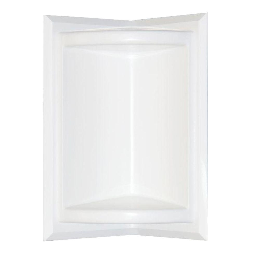 Swan 5.75 in. x 11 in. Corner-Mount Solid Surface Soap Dish in White