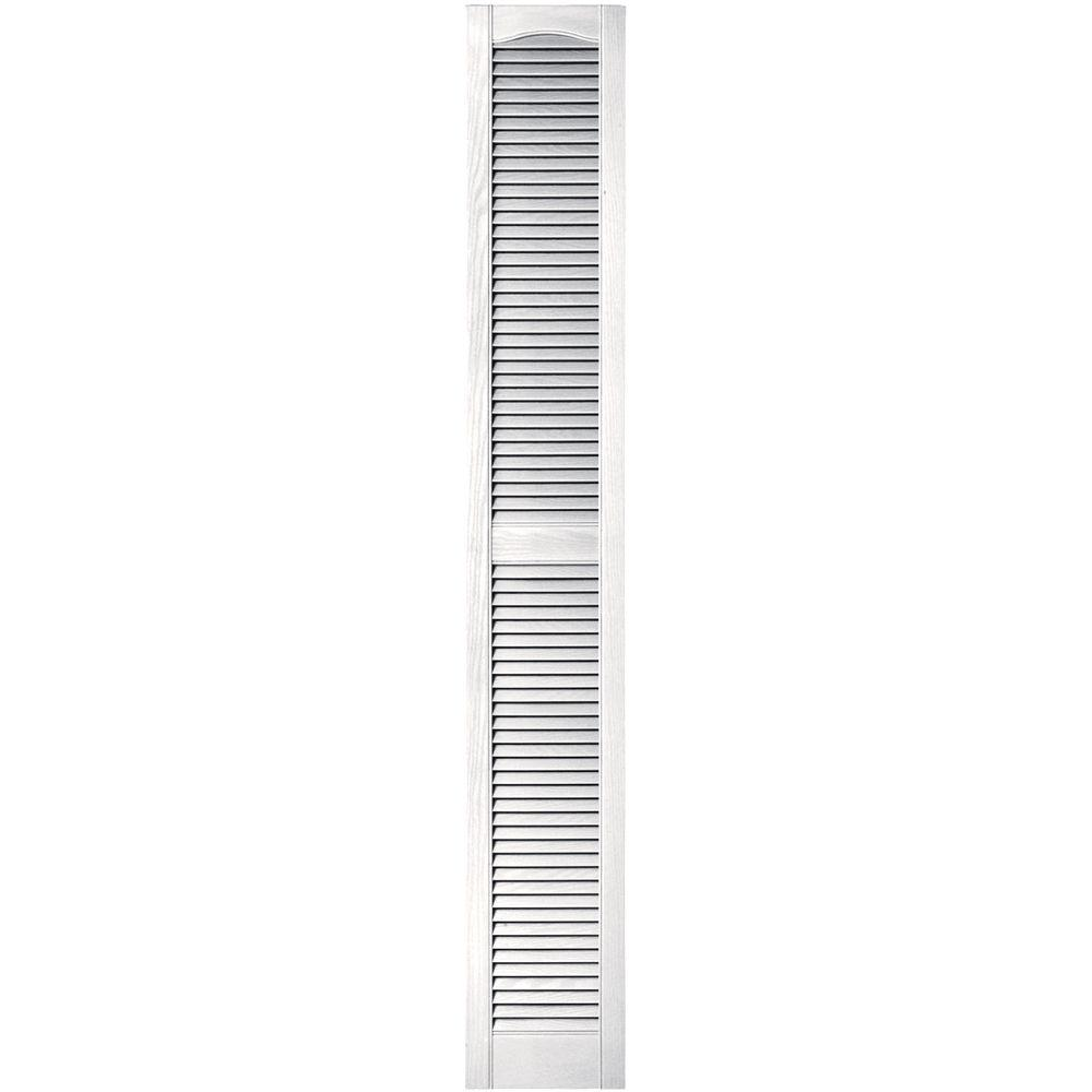 Builders Edge 12 In X 80 In Louvered Vinyl Exterior Shutters Pair In 117 Bright White