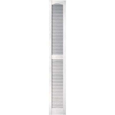 12 in. x 80 in. Louvered Vinyl Exterior Shutters Pair in #117 Bright White