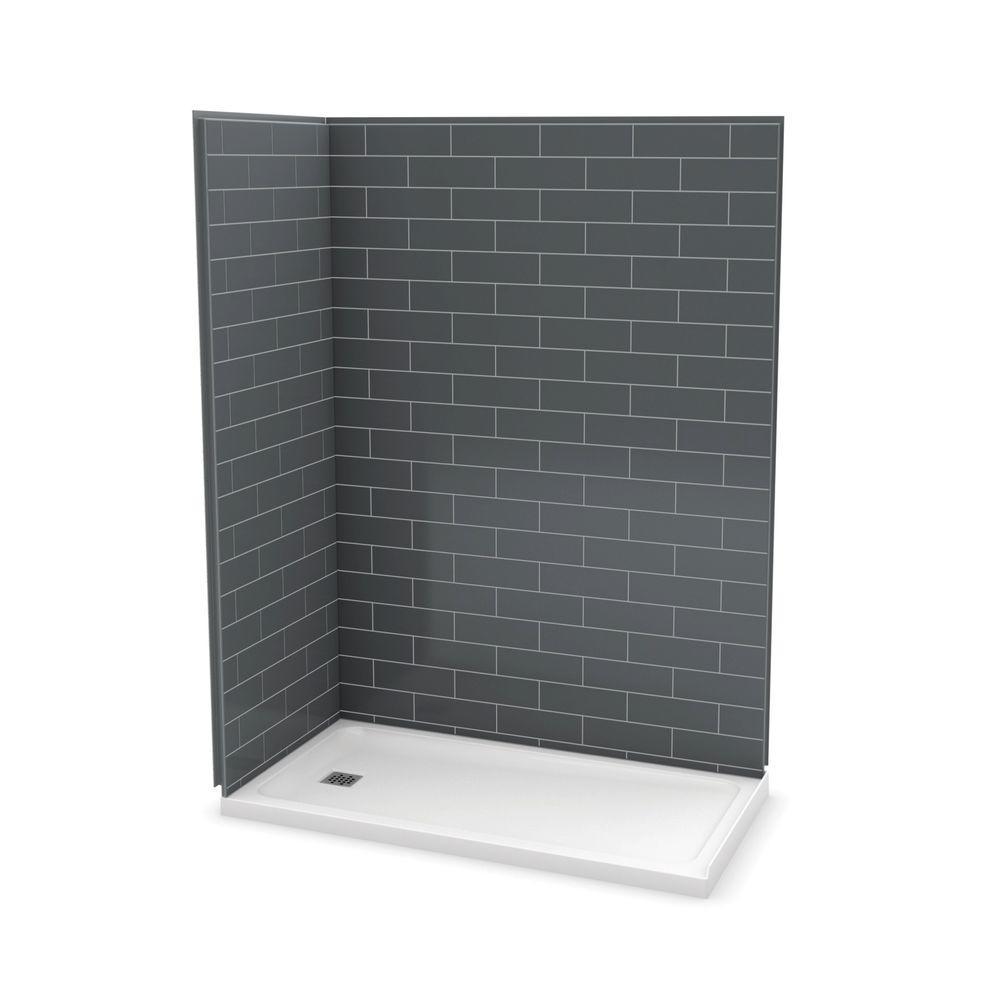 Utile Metro 32 in. x 60 in. x 83.5 in. Corner Shower Stall in Thunder Grey with Left Drain Base in White