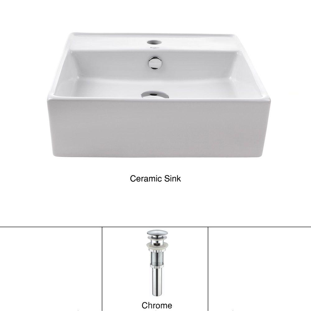 Kraus Square Ceramic Vessel Bathroom Sink With Overflow In White And Pop Up Drain Chrome