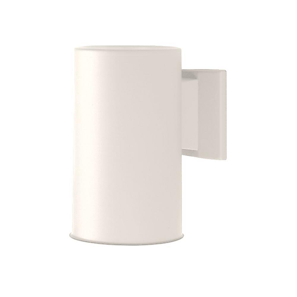 NICOR 75-Watt White Outdoor Wall Lantern Sconce Down Light