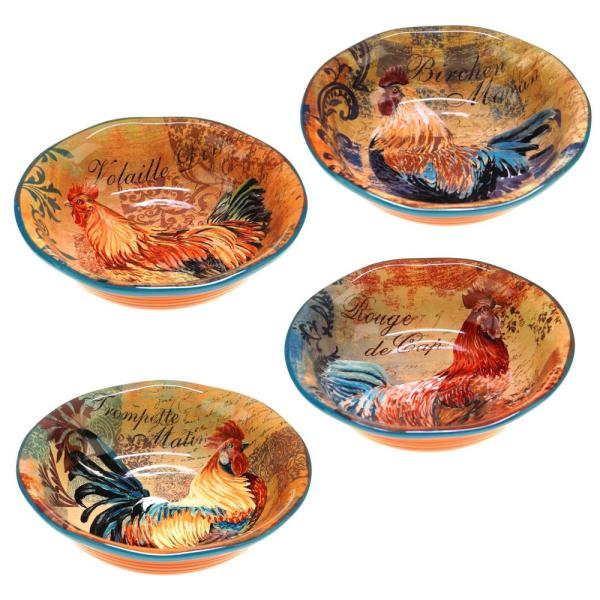 Certified International Rustic Rooster Soup and Pasta bowl (Set of 4)
