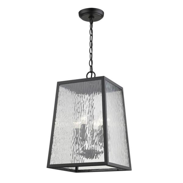 Hirche 4-Light Matte Black Outdoor Pendant