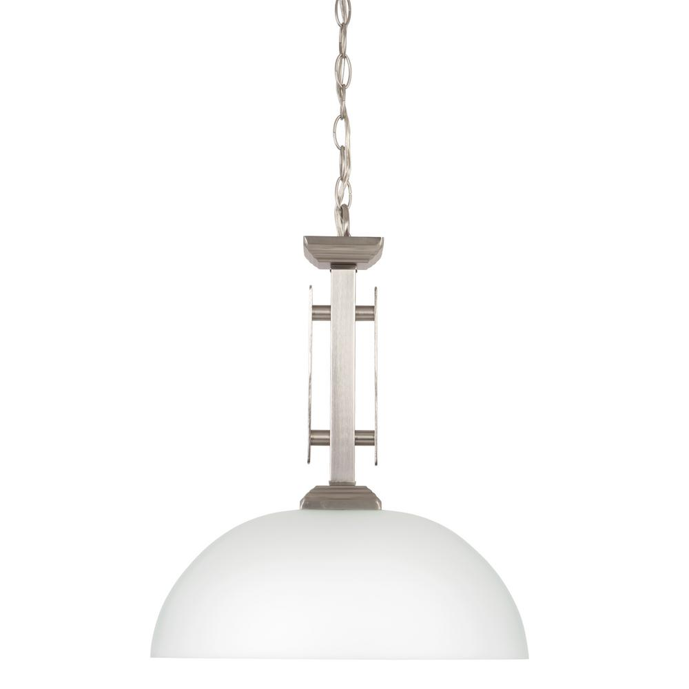 Yosemite Home Decor Half Dome Collection 1-Light Satin Nickel Pendant with White Frosted Glass Shade