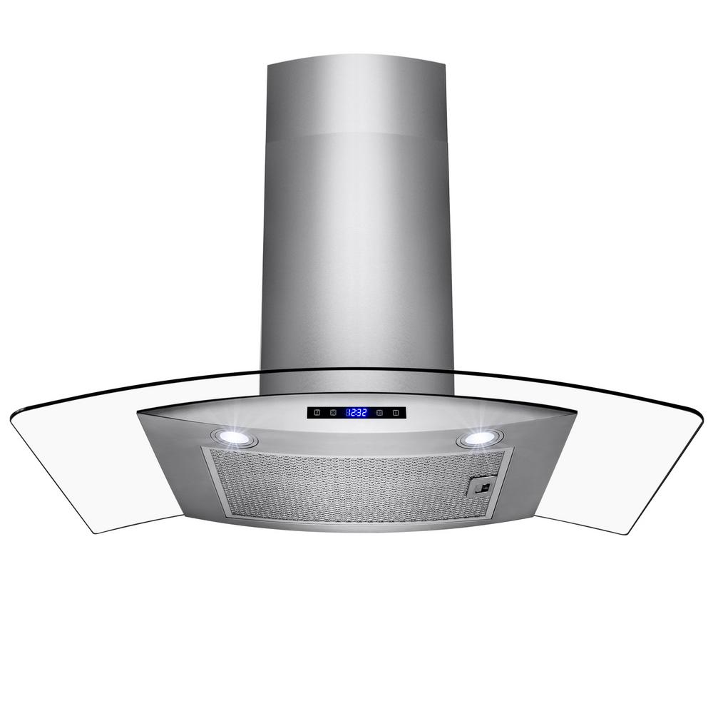 Wall Mount Brushed Stainless Steel And Tempered Gl Touch Panel Kitchen Range Hood Cooking Fan