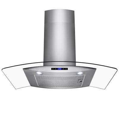 36 in. Wall Mount Brushed Stainless Steel and Tempered Glass Touch Panel Kitchen Range Hood Cooking Fan