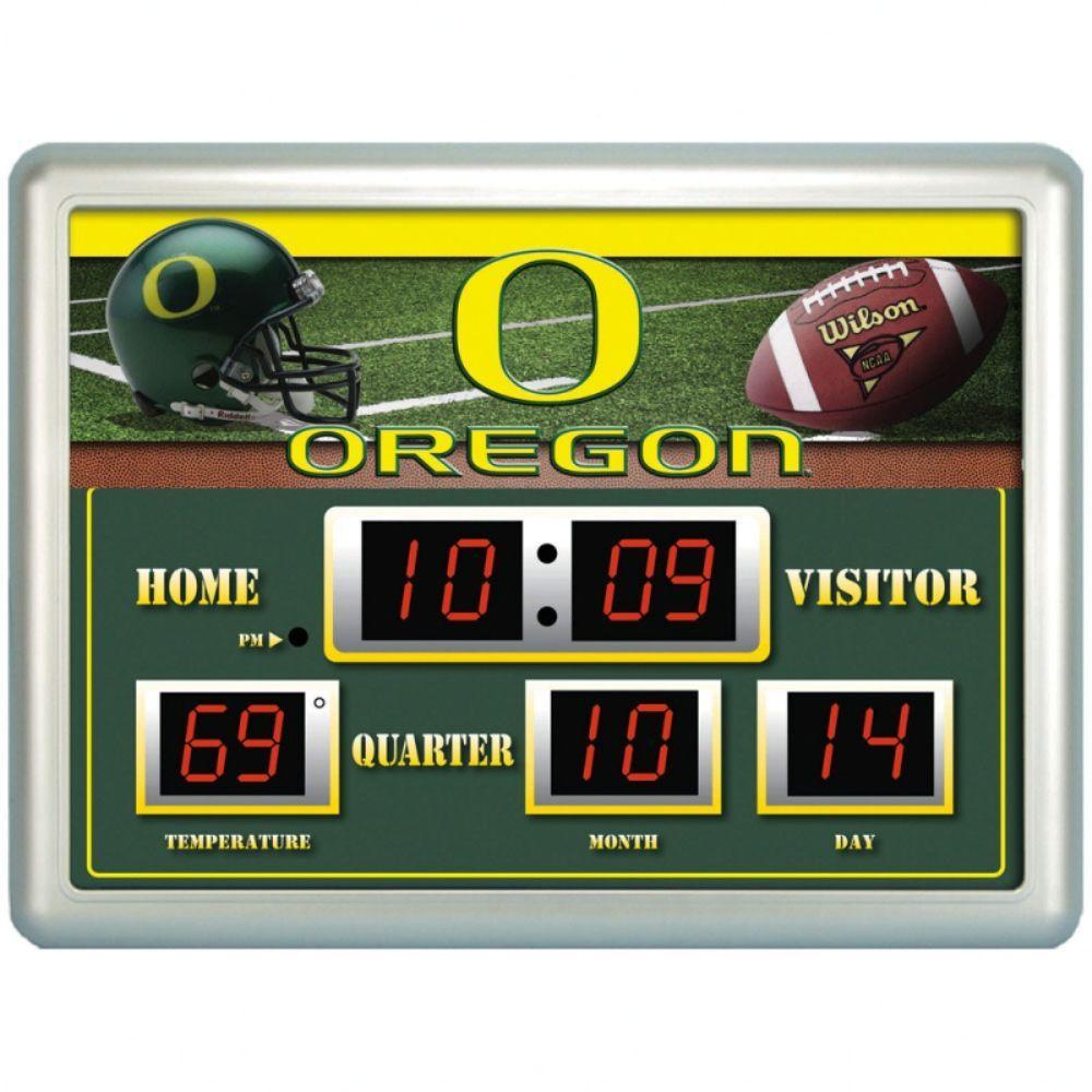 null University of Oregon 14 in. x 19 in. Scoreboard Clock with Temperature