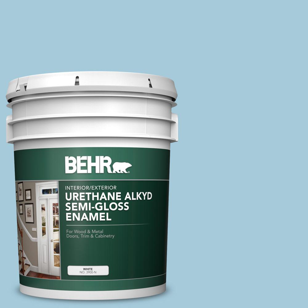 Behr 5 Gal S460 2 Drip Urethane Alkyd Semi Gloss Enamel Interior Exterior Paint 390005 The Home Depot