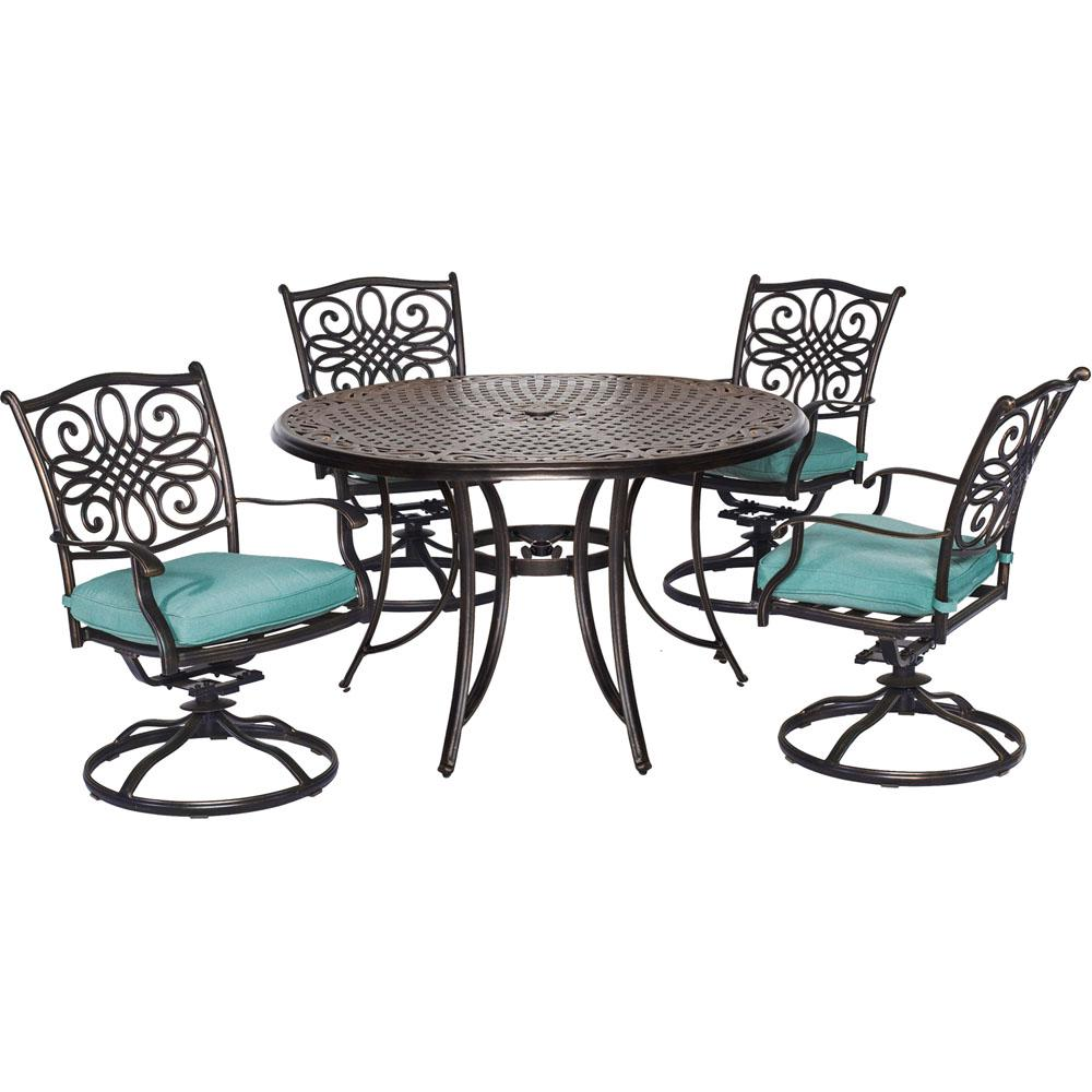 Cambridge Seasons 5-Piece All-Weather Round Patio Dining Set with Blue Cushions and 4 Swivel Rockers
