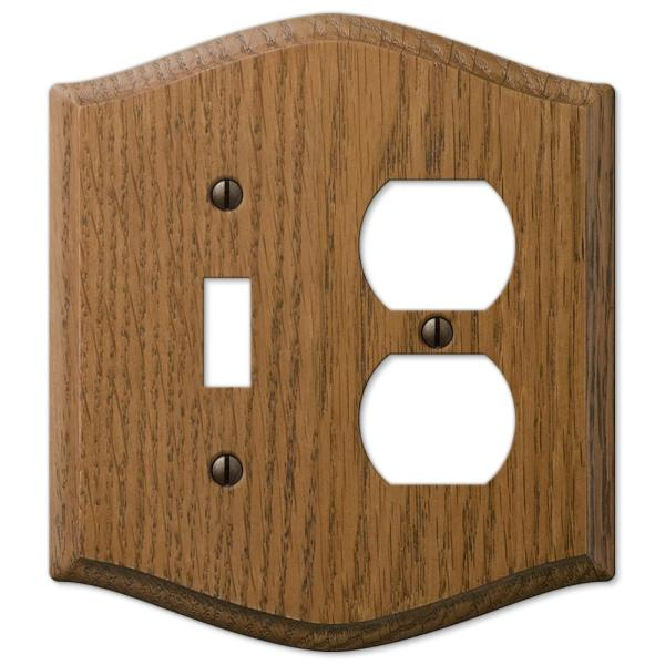 Country 2 Gang 1-Toggle and 1-Duplex Wood Wall Plate - Medium Oak