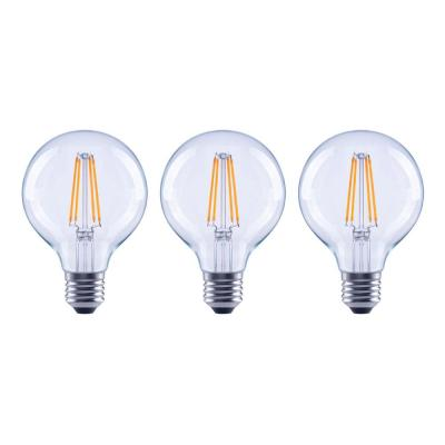 60-Watt Equivalent G25 Dimmable ENERGY STAR Clear Glass Filament Vintage Edison LED Light Bulb Bright White (3-Pack)