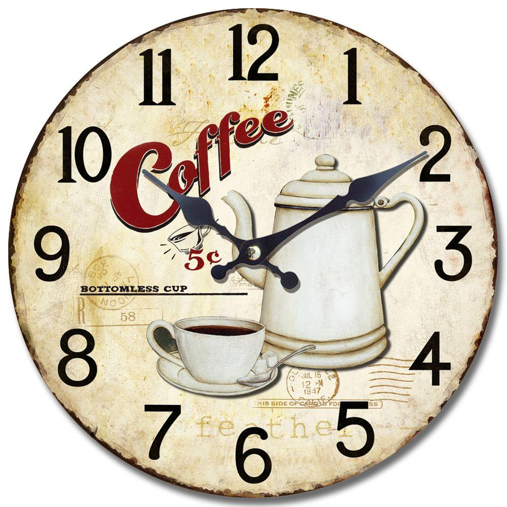 Yosemite Home Decor 13.5 in. Circular Wooden Wall Clock with Bottomless Coffee Print
