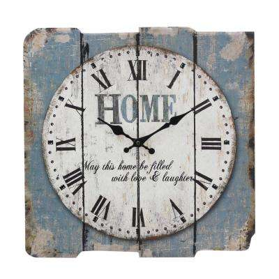 Worn Blue Roman Numeral Wall Clock