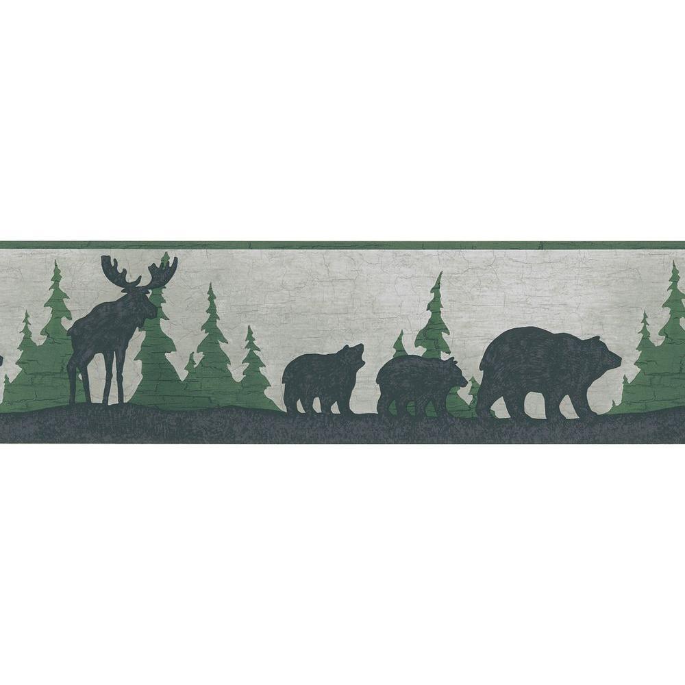 Green Mountain Animal Silhouettes Wallpaper Border Sample