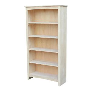 60 in. Unfinished Wood Wood 5-shelf Standard Bookcase with Adjustable Shelves