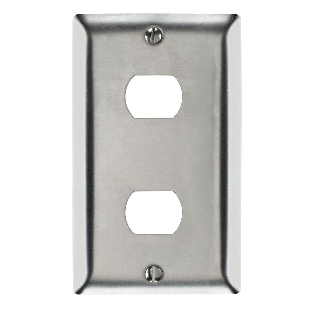 1-Gang Horizontal Opening 2-Toggle Wall Plate in Stainless Steel