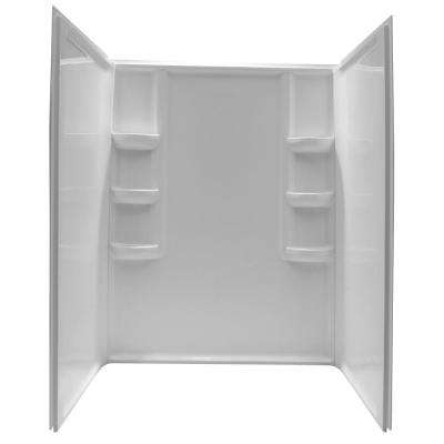 Lex-Class 60 in. x 36 in. x 74 in. 3-piece Direct-to-Stud Alcove Shower Surround in White