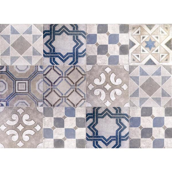 Brewster Blue Vintage Tiles Kitchen Panel Wall Decal