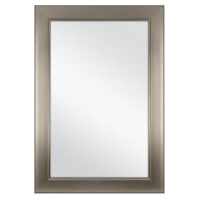 24 in. W x 35 in. L Framed Fog Free Wall Mirror in Modern Nickel