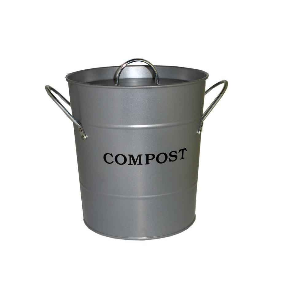 Exaco 2-in-1 Silver Lid with Rubber Seal Compost Bucket