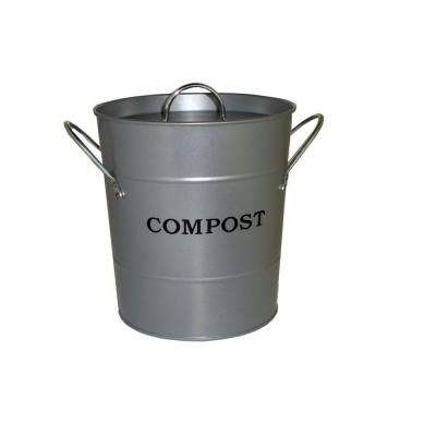 2-in-1 Silver Lid with Rubber Seal Compost Bucket