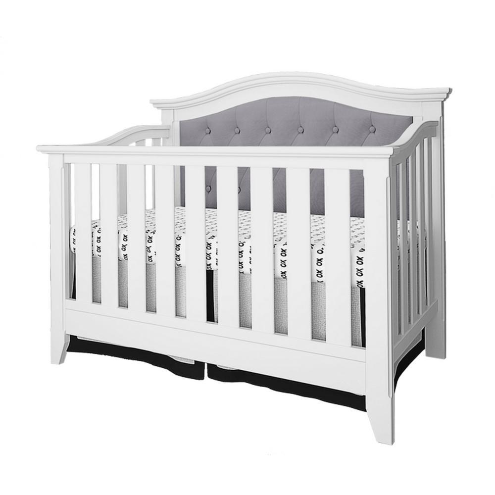 Magnolia White Gray Linen Upholstered Convertible Crib