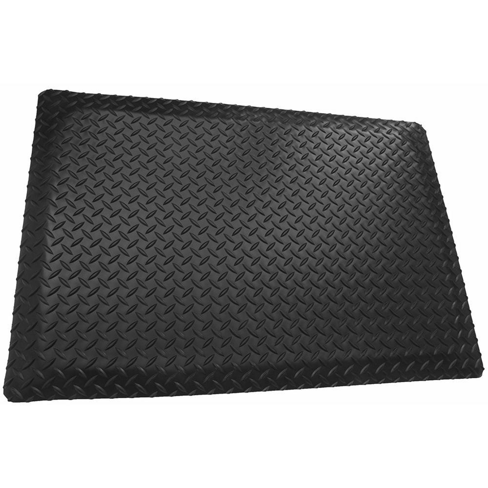 Black 3 ft. x 25 ft. x 9/16 in. Diamond Plate Anti-Fatigu...