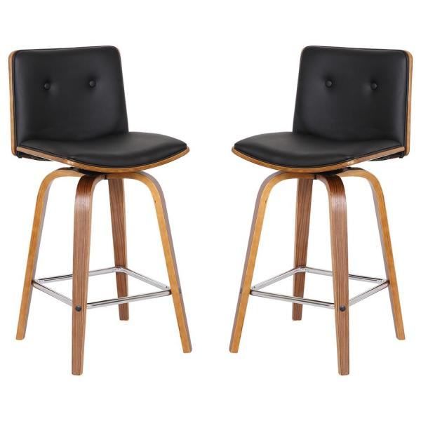 Today's Mentality Summer 26 in. Black Barstool (Set of 2)
