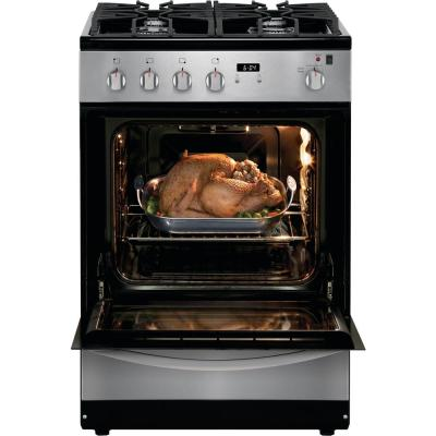 24 in. 1.9 cu. ft. Freestanding Gas Range with Manual Clean in Stainless Steel