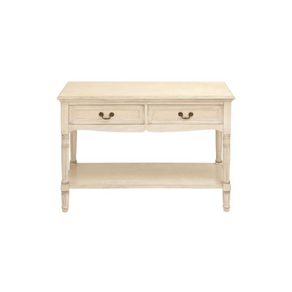 44 in. Distressed Antique Ivory Rectangle Wood Console Table with 2-Drawers