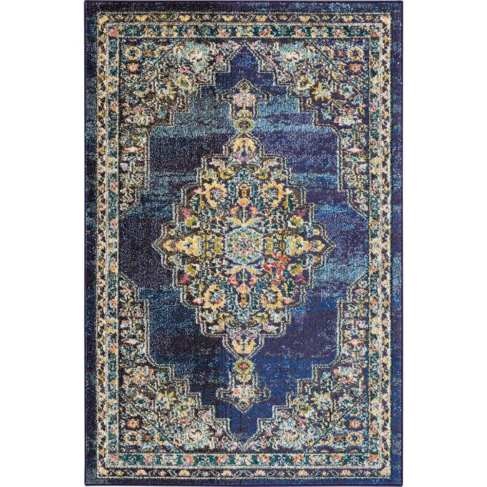 Pionate 4 X 6 Dark Blue Multicolor Kashan Area Rug