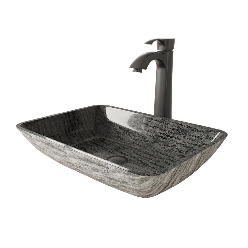 Rectangular Titanium Glass Vessel Bathroom Sink Set With Otis Vessel Faucet in Matte Black