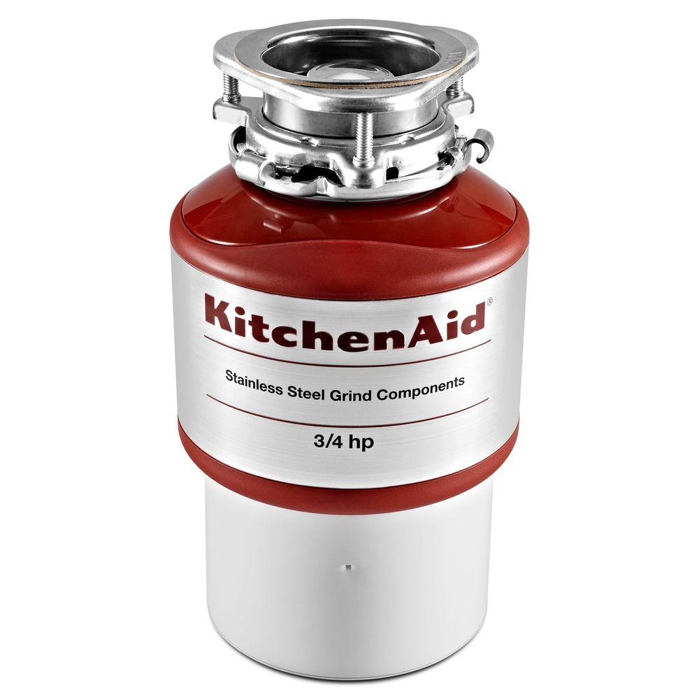 KitchenAid 3/4 HP Continuous Feed Garbage Disposal This KitchenAid 3/4 HP motor delivers quiet, powerful performance. The continuous-feed system allows you to efficiently get rid of large quantities and features overload protection for added safety.