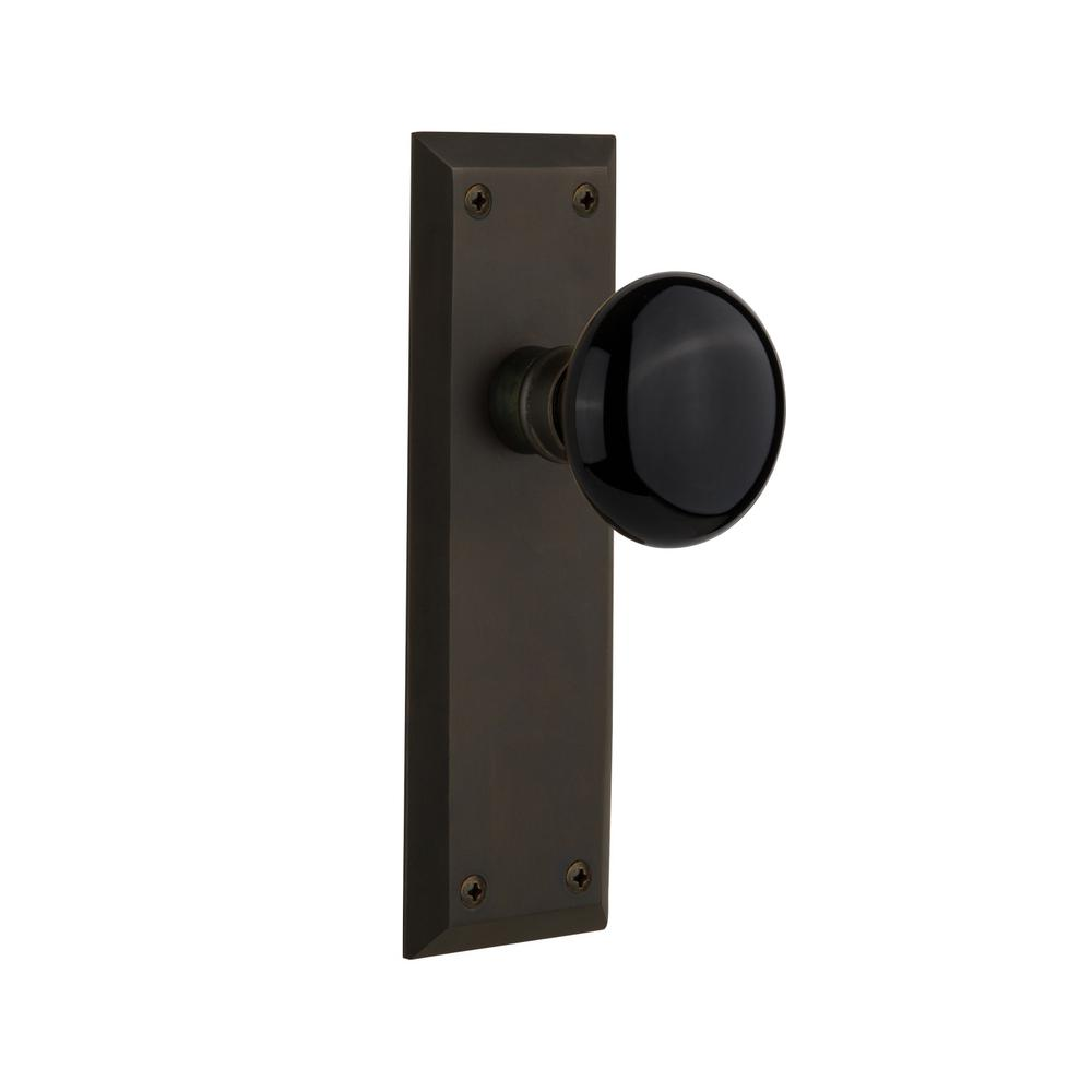 Nostalgic Warehouse New York Plate Single Dummy Black Porcelain Door Knob  In Oil Rubbed Bronze
