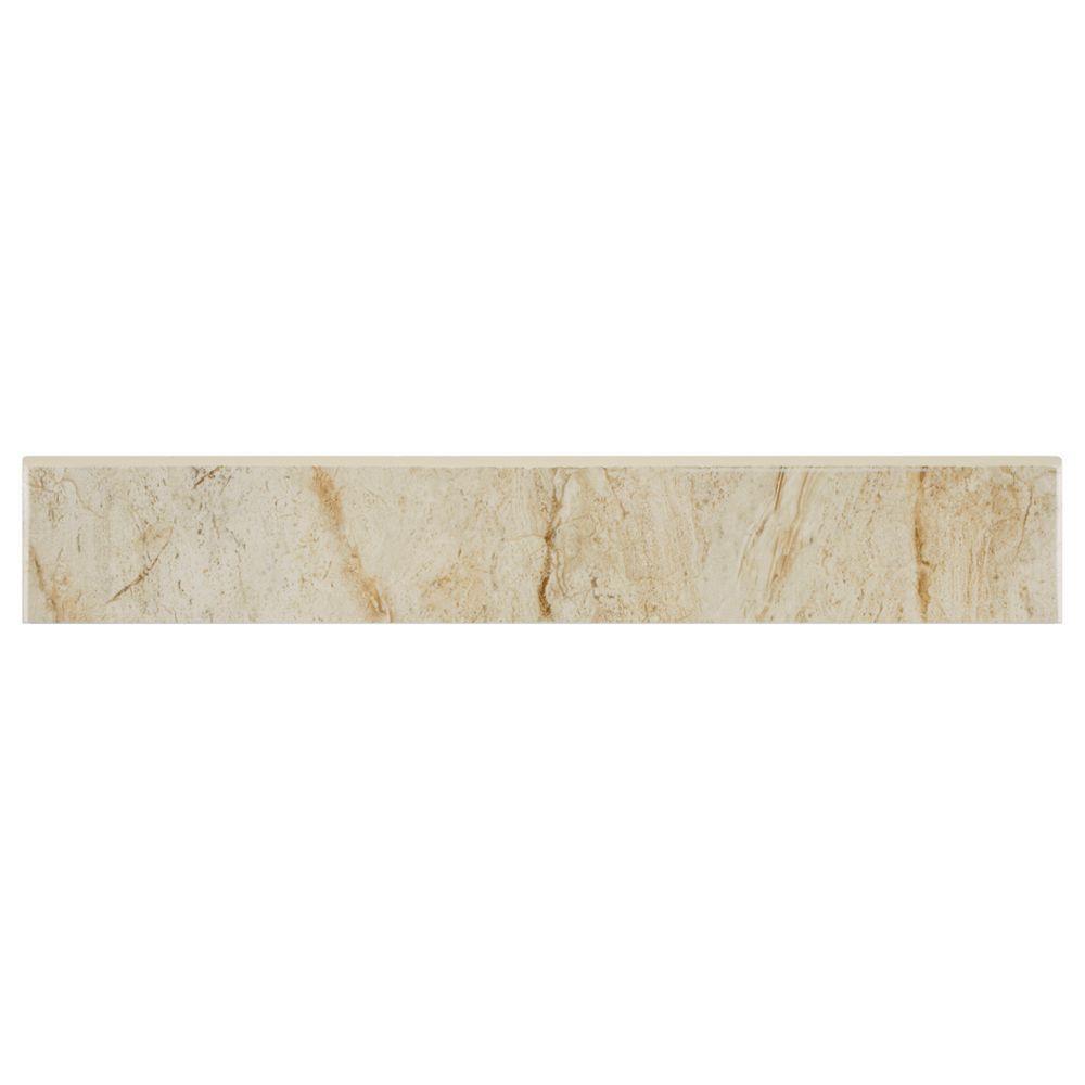 Merola Tile Dana Marfil Bullnose 3 in. x 17-3/4 in. Ceramic Floor and Wall Trim Tile