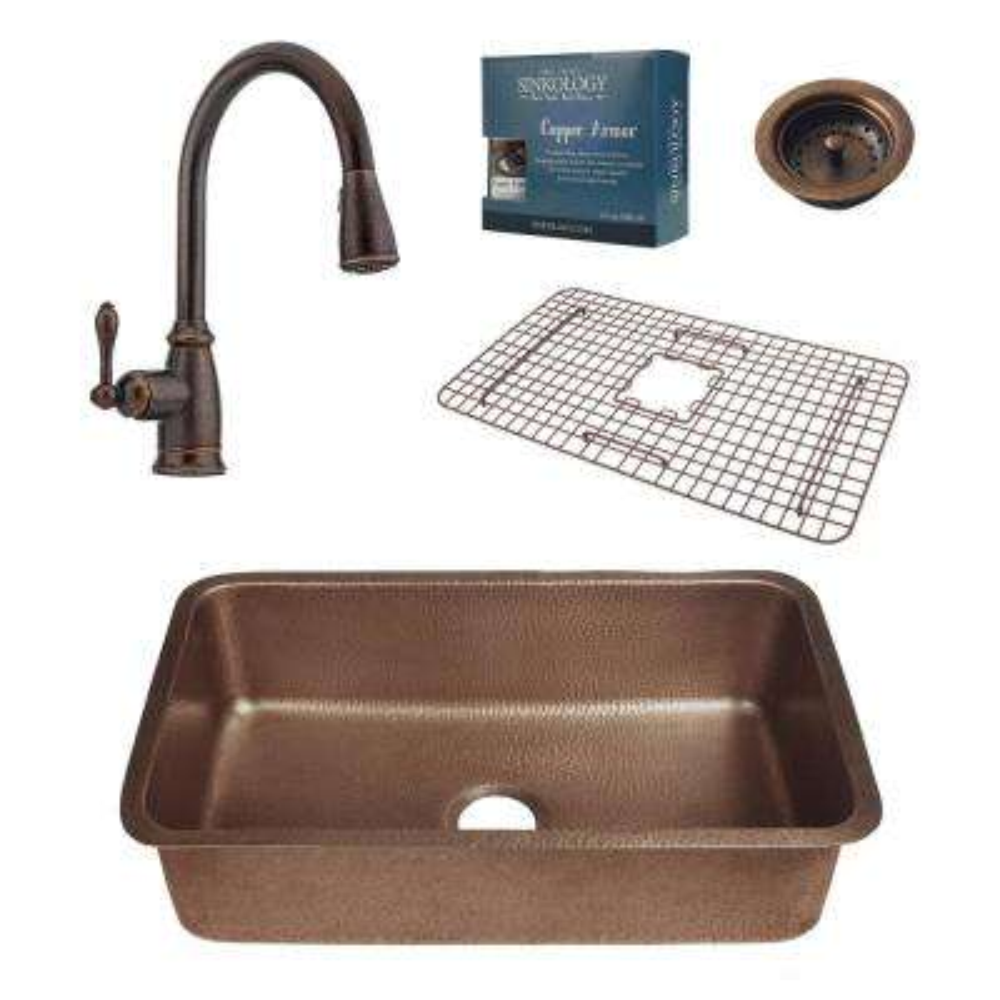 Pfister All In One Orwell 30 In. Undermount Copper Kitchen Sink Design Kit