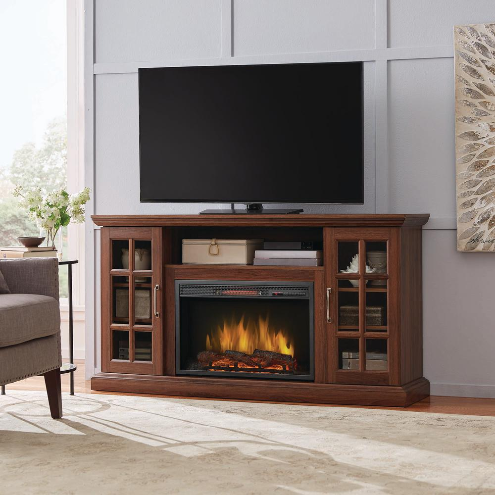Home Decorators Collection Edenfield 59 in. Freestanding Infrared Electric Fireplace TV Stand in Burnished Walnut