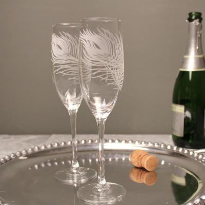 Peacock 8 oz. Clear Champagne Flute (Set of 4)
