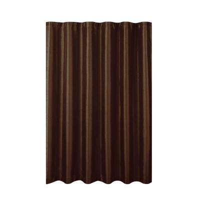 Jane Faux Silk 70 in. W x 72 in. L Shower Curtain with Metal Roller Hooks in Chocolate