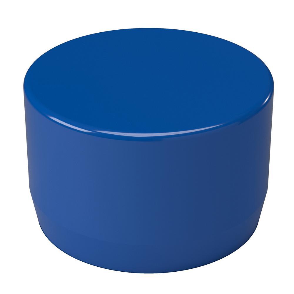 1 in. Furniture Grade PVC External Flat End Cap in Blue (10-Pack)