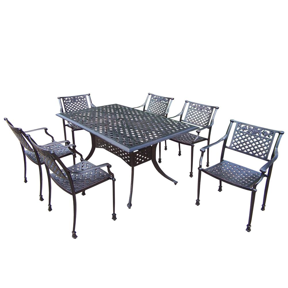 7-Piece Outdoor Dining Set with Rectangular Table and 6 Cast Aluminum