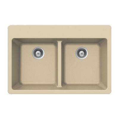 Quartztone Drop-In Granite Composite 33 in. 5-Hole Double Bowl Kitchen Sink in Sand