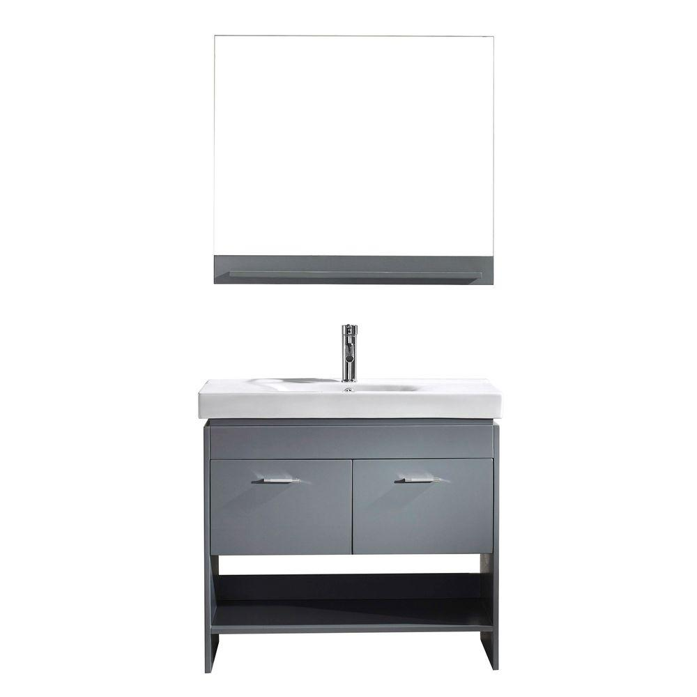 Virtu USA Gloria 36 in. W Bath Vanity in Gray with Ceramic Vanity Top in White Ceramic with Square Basin and Mirror and Faucet
